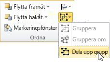 Grupplistan med Dela upp grupp markerad