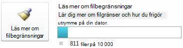 Dokumentmätare i SharePoint Workspace när färre än 7500 dokument används