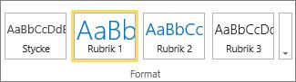 Skärmbild som visar gruppen Format i menyfliksområdet i SharePoint Online med formatet Rubrik 1 markerat.