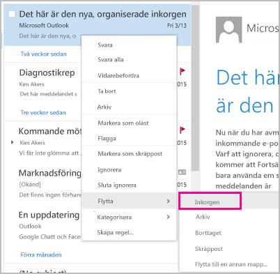 Återställ och flytta ett e-postmeddelande till inkorgen