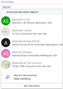 Föreslagna platser erbjuds via Bing