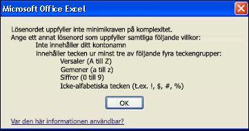 Felmeddelande när lösenordet innehåller för få tecken