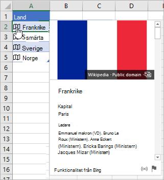 Cell med länkad post för Frankrike; ikon för klickande markör; kort visas
