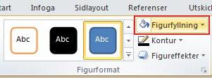 På fliken Format, i gruppen Figurformat, klickar du på Figurfyllning för att visa färgpaletten.