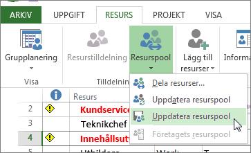 Uppdatera resurspool när du har redigerat resurser i delarfilen