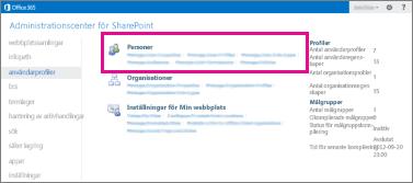 En skärmbild av Administrationscenter för SharePoint Online med sidan användarprofiler vald.