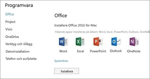 Skärmen för installation av programvara i Office 365-inställningarna på en Mac