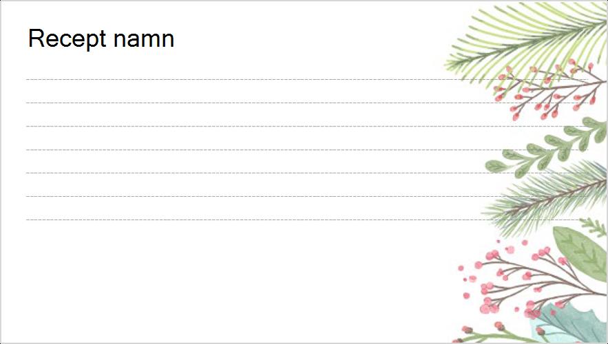 Bild av ett recept kort med helgdagar