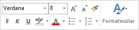Formateringsverktygsfältet för formatering av meddelandetext