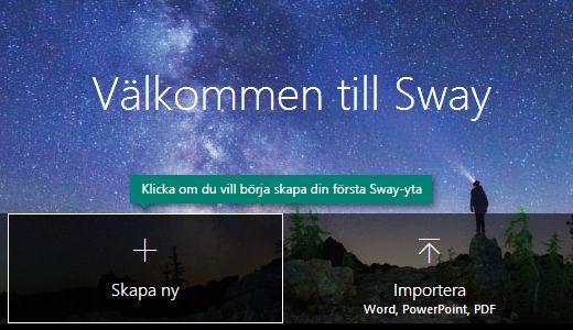 Knappen Skapa ny på sidan Mina Sway-ytor