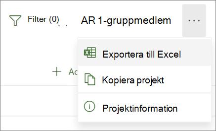 Skärmbild av menyn i Project för webben med alternativet Exportera till Excel