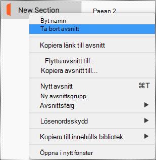 Snabbmenyn för avsnitt med alternativet för att ta bort avsnitt markerat i Mac.
