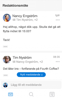 Ny konversationsvy i Outlook för iOS