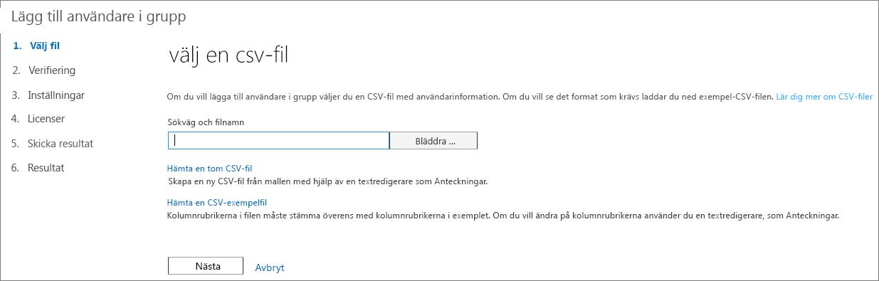 Steg 1 i guiden Lägga till användare i grupp – Välj CSV-fil