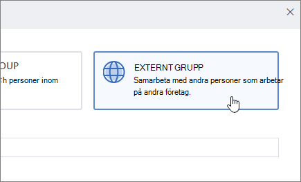 En skärmbild som visar kryssrutan Skapa en grupp skärm i Yammer med namnet externa grupp är markerad.