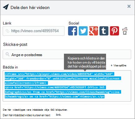 Exempel på användning av inbäddnings kod för att bädda in innehåll på SharePoint-sidan