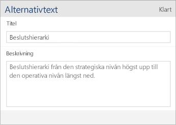 Skärmbild av dialogrutan för alternativtext i Word Mobile med fälten Rubrik och Beskrivning.
