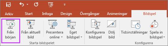Visar knappen Från början på fliken Bildspel i PowerPoint