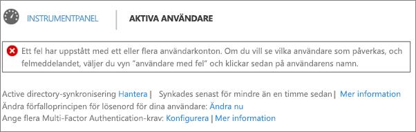 Deklaration av katalogsynkroniseringsfel överst på sidan Aktiva användare