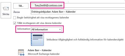 Inbjudan att dela e-postbrevlåda externt – tillruta och detaljinställning