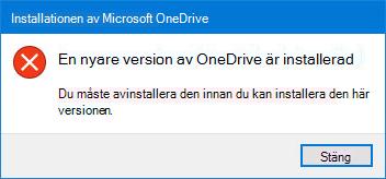 Pop-up OneDrive-fel