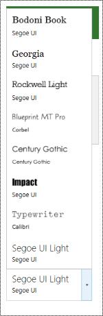 Teckensnitt nedrullningsbar meny för webbplatsdesign i Project Online.