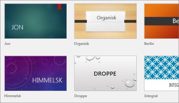 Visar teman i PowerPoint under Arkiv > Nytt