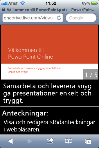 Bild- och stödanteckningar i Mobile Viewer för PowerPoint