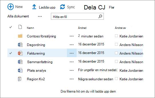Dialogruta med ett SharePoint-dokumentbibliotek som innehåller flera filer.