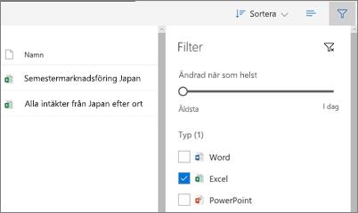 Skärmbild av fitering visa mappen delas med mig i OneDrive för företag