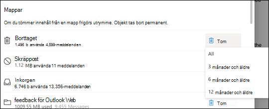 Lagringsinställningar för Outlook.com.