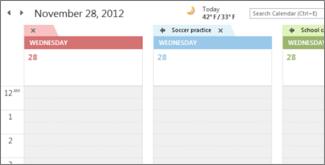 Flera kalendrar med olika bakgrundsfärger