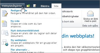 Menyn Webbplatsåtgärder i SharePoint 2010