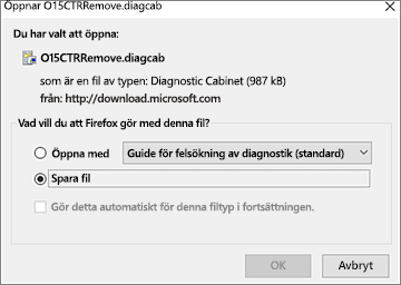 Spara filen O15CTRRemove.diagcab i Firefox