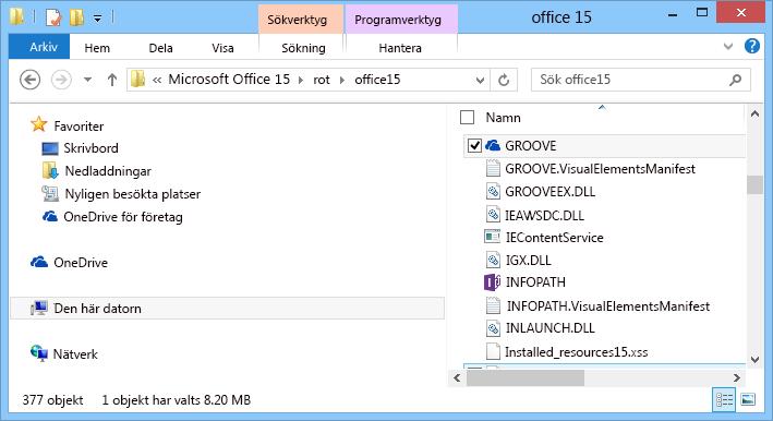 Söka efter Groove.exe i Windows