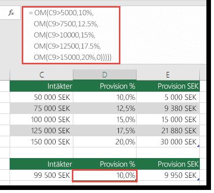 Formeln i cell D9 är i fel ordning: =OM(C9>5000;10%;OM(C9>7500;12,5%;OM(C9>10000;15%;OM(C9>12500;17,5%;,OM(C9>15000;20%;0)))))