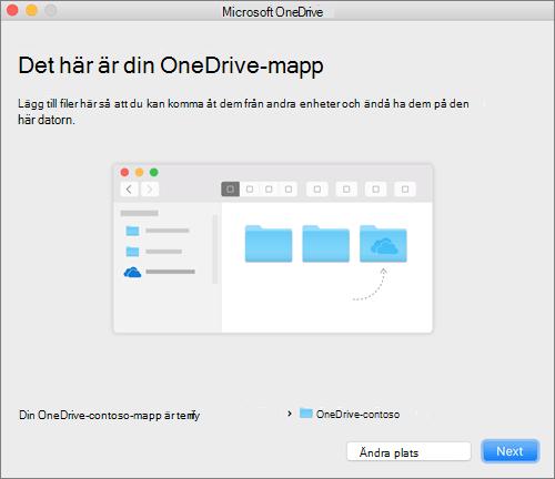 Skärmbild av sidan Det här är din OneDrive-mapp när du har valt en mapp i guiden Välkommen till OneDrive på en Mac