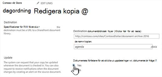 Klicka på Ja i uppmaningen författaren att skicka ut uppdateringar när dokumentet är markerat avsnitt