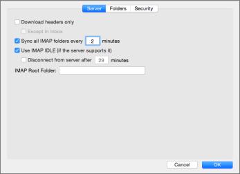 Serverinställningar för IMAP-konton i Outlook 2016 för Mac