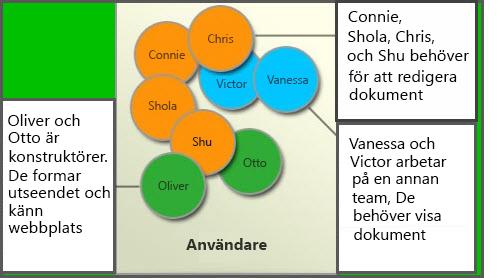 Diagram med olika användargrupper: Medlemmar, Webbplatsdesigner och Besökare
