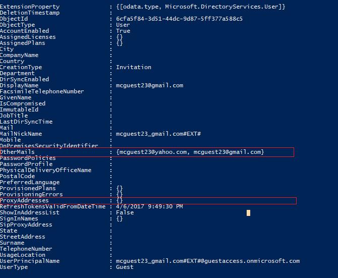Exempel på användarkonto som inte har konfigurerats korrekt