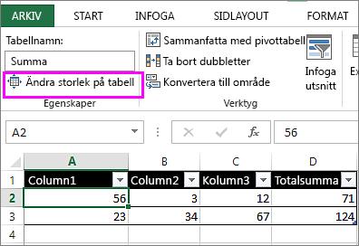 med hjälp av alternativet ändra storlek på tabell från Tabellverktyg