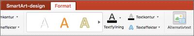 Knappen Alternativ text för en SmartArt-menyfliksområdet i PowerPoint för Mac
