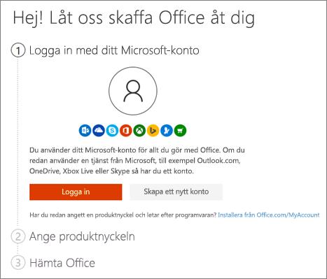 Visar öppningssidan för setup.office.com
