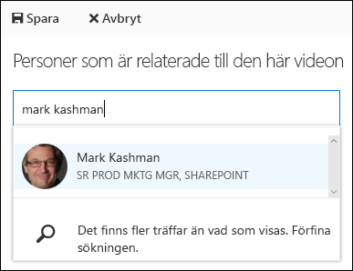 Office 365 Video associera personer
