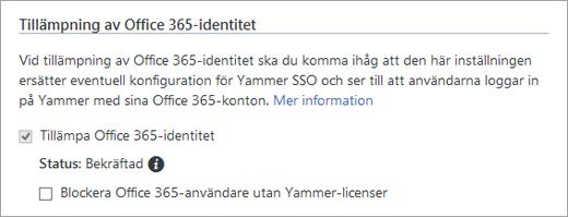 Skärmbild av kryssrutan Blockera Office 365-användare utan Yammer-licenser i Yammer-säkerhetsinställningar