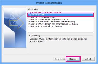 Exportguiden i Outlook – Exportera till en fil