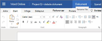 Klicka på namnlisten om du vill ändra namnet på ett dokument i Word Online