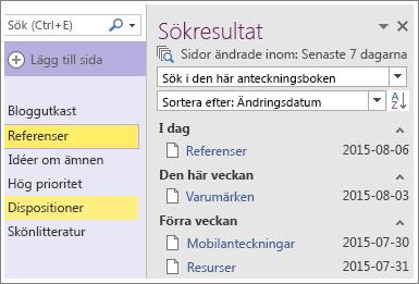 Skärmbild av sökresultat för datumintervall i OneNote 2016.