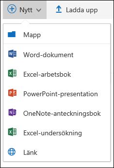 Skapa en ny mapp eller ett nytt dokument i Office 365